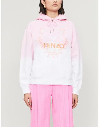 Kenzo Dip-dye logo-embroidered cotton-jersey hoody
