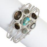 Chuvora Silver-Plated Brass Blue Reconstructed Turquoise, Labradorite, Brown Quartz Stone Cuff Bracelet
