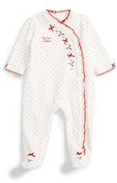 Little Me Infant Girl's Holly Heart Velour Footie