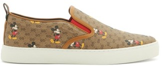 Gucci Mickey Mouse-print Gg-canvas Slip-on Trainers - Brown Multi