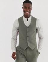 Hatch Asos Design ASOS DESIGN skinny suit vest in khaki cross