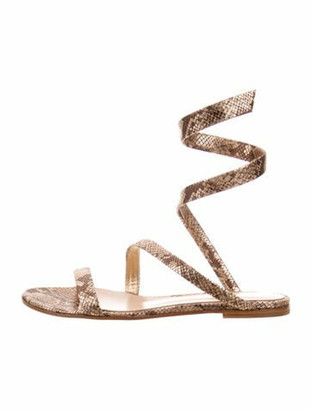 Gianvito Rossi Opera Suede Gladiator Sandals Gold