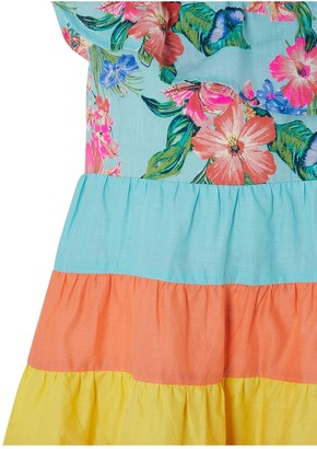 Monsoon Fergie Flower Colour Block Dress - Turquoise