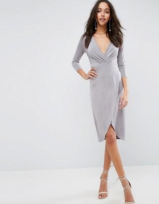 Asos Design ASOS Slinky Wrap Midi Dress