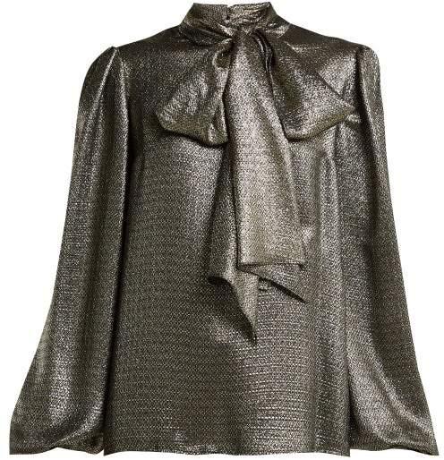 Saint Laurent Pussy Bow Silk Blend Lame Blouse - Womens - Silver Gold