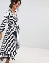 Gestuz Stripe Wrap Dress With Frill Detail