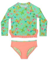 Hula Star 'Butterfly' Two-Piece Rashguard Swimsuit (Toddler Girls & Little Girls)