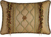 """Sweet Dreams Oblong Rosette Pillow with Gimp Accents & Ribbon & Bead Fringe, 14"""" x 22"""""""