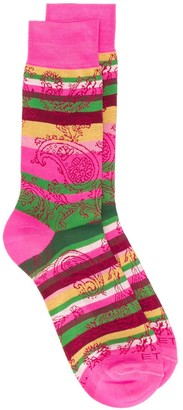 Etro Striped Paisley Pattern Socks