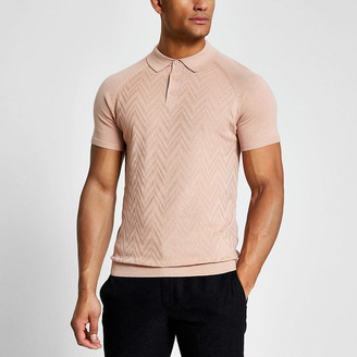 River Island Pink textured slim fit knitted polo shirt