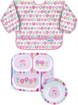 Bumkins Bloom Sleeved Bib Plate & Bowl Set