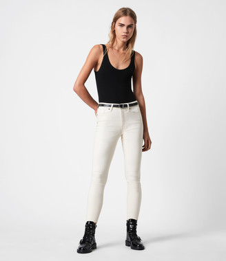 AllSaints Miller Mid-Rise Coated Skinny Jeans, White