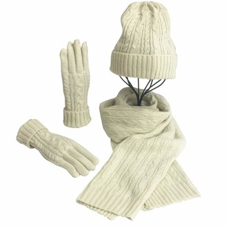 Voqeen Women Knitted Wool Hat Scarf Gloves Set Winter Warm Thicken Beanie Cap Mitten Long Scarf For Ski Outdoor Sports