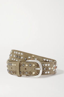 Isabel Marant Devis Studded Suede Belt - Army green