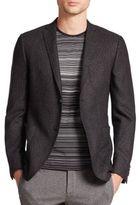 Z Zegna Slim Fit Silk/Wool Dot Weave Jacket