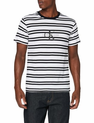 Calvin Klein Jeans Men's Striped CK Center Logo TEE Shirt