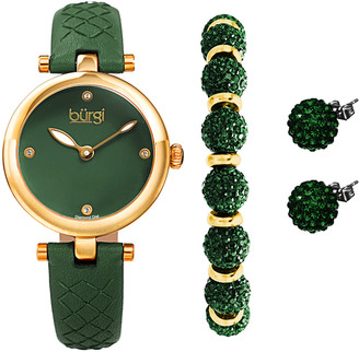 Burgi Women's Watches Green - Diamond-Accent & Goldtone Czech Crystal Leather-Strap Watch Set