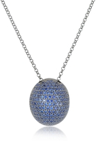 Ileana Creations Azhar Blue Cubic Zirconia Sterling Silver Pendant Necklace