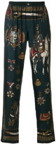 Dolce & Gabbana military print elasticated trousers