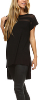 Black Sheer-Neck Asymmetrical Hem Tunic