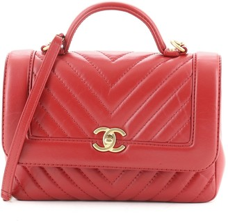 Chanel Top Handle Flap Bag Chevron Calfskin Small