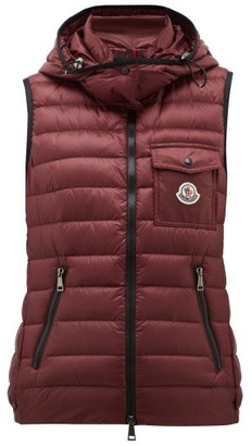 Moncler Glycine Hooded Quilted-down Gilet - Womens - Burgundy