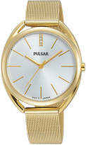 Pulsar Women's Easy Style Gold-Tone Stainless Steel Mesh Bracelet Watch 34mm PG2038