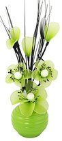 Camilla And Marc Flourish 705824 813 Green Vase with Lime Green Nylon Artificial Flowers in Vase, Fake Flowers, Ornaments, Small Gift, Home Accessories, 32cm