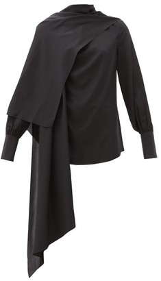 Joseph Draped Silk-jersey Blouse - Black