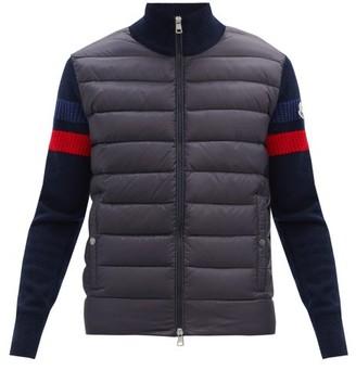 Moncler Down-panel Striped Zip-through Wool Sweater - Navy
