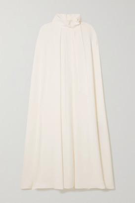 Valentino Tie-detailed Cape-effect Silk-cady Midi Dress - White