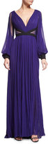 J. Mendel Long-Sleeve Pleated Silk Gown, Mulberry