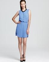 Shirt Dress -  Faux Leather Trim Sleeveless
