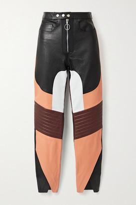 Marques Almeida Appliqued Paneled Leather Straight-leg Pants - Black