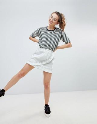 Monki Ruffle Wrap Skirt-Green