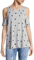 Two By Vince Camuto Petite Polka Dot Cold Shoulder T-Shirt