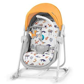 Kinderkraft Baby Bouncer 5 in 1 UNIMO 2020, Infant Rocker, Swinger, Chair, Crib, Foldable, Adjustable Backrest, Lying Position, with Accessories, Removable Toy Bar, for Newborn, to 3 Years, Yellow