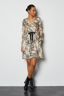 Karen Millen Satin Printed Wrap Dress