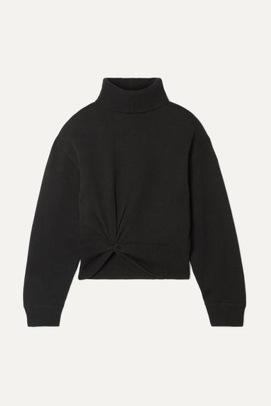 Alexander Wang Twist-front Wool Turtleneck Sweater - Black