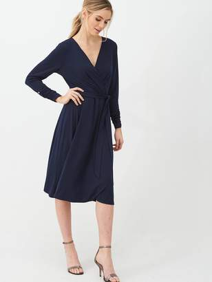 Wallis Wrap Three Quarter Sleeve Fit And Flare Dress - Ink