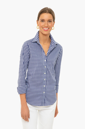 The Shirt By Rochelle Behrens Navy Gingham Long Sleeve Icon Shirt