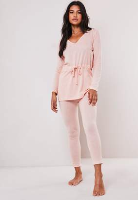 Missguided Blush Soft Touch Tie Waist Pyjama Set