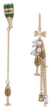 Betsey Johnson Champagne Mismatch Linear Earrings