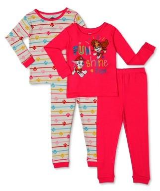 Paw Patrol Toddler Girl Long Sleeve Snug Fit Cotton Pajamas, 4pc Set