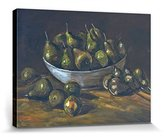 1art1® Vincent Van Gogh Stretched Canvas Print - Still Life With An Earthen Bowl And Pears, 1885 (32 x 24 inches)