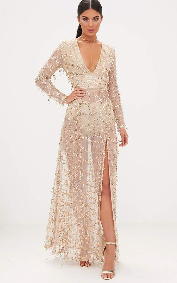 PrettyLittleThing Valentina Gold Sequin Long Sleeve Maxi Dress