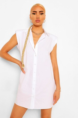 boohoo Shoulder Pad Shirt Dress