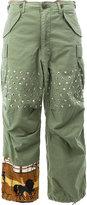 Junya Watanabe Comme Des Garçons - studded flared trousers - women - Cotton/Polyester/Polyurethane - S