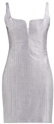 Galvan Corset Knitted Lame Mini Dress - Womens - Silver