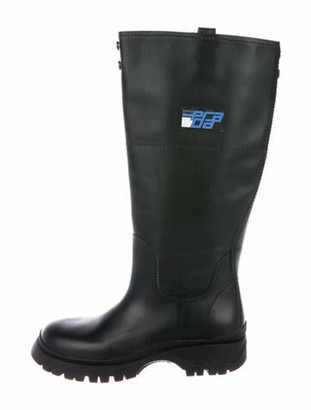 Prada Leather Rain Boots Black